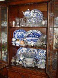 flow blue, cut glass, royal dalton
