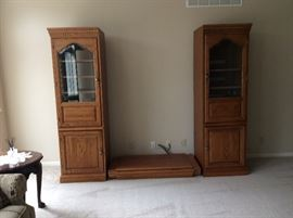 Oak Hooker Cabinets with Bridge and connecting Shelf - media cabinet