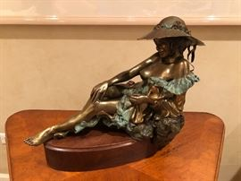 """Jan L. Searle Bronze signed and marked AP stands 13 1/2"""" Tall 9"""" deep and 16"""" wide"""