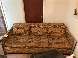 Vintage Bernhardt chrome and velvet pull out sofa bed