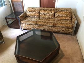 Vintage chrome and Velvet 3 seater Bernhardt sofa bed. This Sofa is heavy. It has a sofa bed unit but can be removed.
