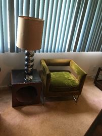 Vintage Bernhardt velvet chair with chrome legs and vintage smoked glass side table.
