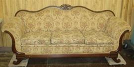 Very Nice Sofa w/Carved Wood Trim