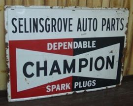 "42"" x 59"" Metal Champion Spark Plugs Sign"