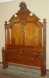"""7' 8"""" Tall Walnut Victorian Bed"""