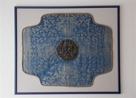 antique Asian textile, mounted and framed