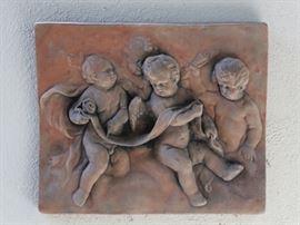 beautiful terra cotta wall plaque - cherubs
