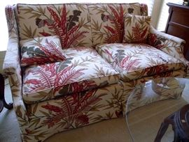 """Custom upholstered linen love seat sofa, 56"""""""