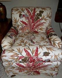 Attractive custom upholstered linen club chair (James Hoeferlin Interiors)