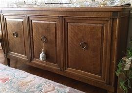 "Baker ""Milling Road"" design mid-century cabinet server. Pecan wood, 61"" long, 2 drawers."