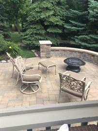 Patio Chairs, Ottoman, Portable Firepit