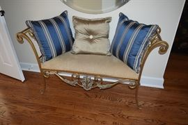 Vintage Bench with Decorative Pillows