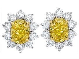 LOT 387 FANCY INTENSE YELLOW DIAMOND EARRINGS