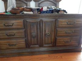 6 drawer dresser with centered door cabinet.
