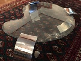 70s beveled edge glass and chrome coffee table