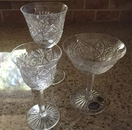 Vintage Bohemia 24% lead crystal, full set, wine goblet, water goblet, champagne goblet, in original packaging, including wine decanter and water pitcher