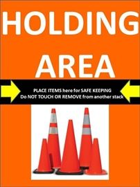 holding area signs