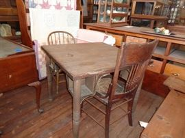 Vintage Oak Card Table used in a bar setting
