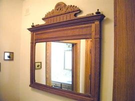 Old Wall Hanging Oak Mirror.