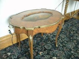 French Hand Painted and Brass Ormolu Table...see top in next photo.