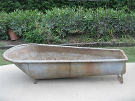 ANTIQUE / VINTAGE GALVANIZED STEEL COWBOY BATH TUB-MARKED OYA KRAUSS