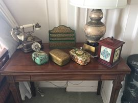 Great vintage desk with hand painted boxes, antique style phone