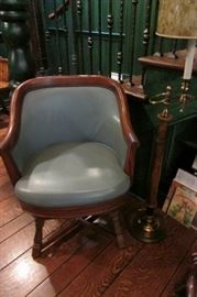 Romweber Viking Oak Blue Leather Chair with nailhead swivel