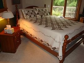 Queen Size Solid Wood Bed w/ Sealy Posturepedic Pillow Top Mattress Set~Night Stand~Bedding