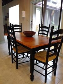 Nice farm table with ladder back chairs (table has a leaf)
