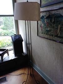 Floor lamp , vintage coal box in background