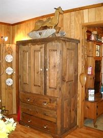 WOOD ARMOIRE WITH DOUBLE DOORS AND 3 DRAWERS