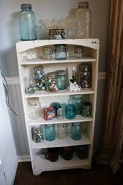 Jars and marbles and a cute shelf