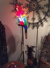 Floor lamp stained glass parrot SOLD not rod iron