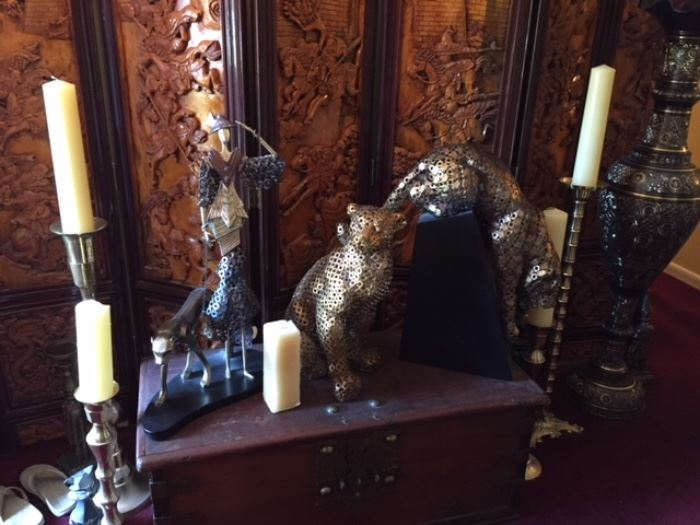 Set of gold metal panther from 1980's , some brass tall candlestick