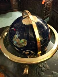"14"" world globe with semi precious details"