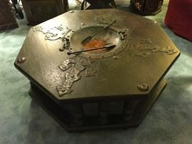 Spanish octagonal table from 1960's with fire pit in the center