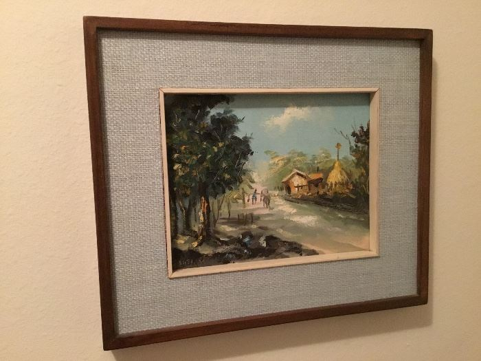 One of two Hawaï small vintage painting from 1960's