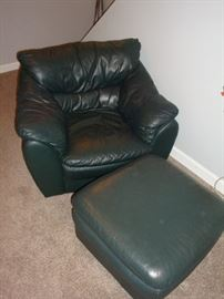 Leather Chair & Ottoman~Green