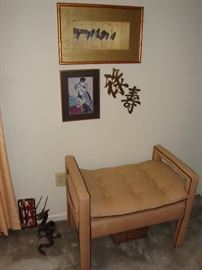 Upholstered Bench Seat~Asian Decor