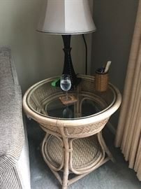 Rattan & Glass End Table
