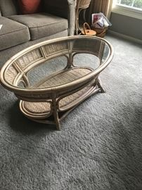 Rattan & Glass Coffee Table