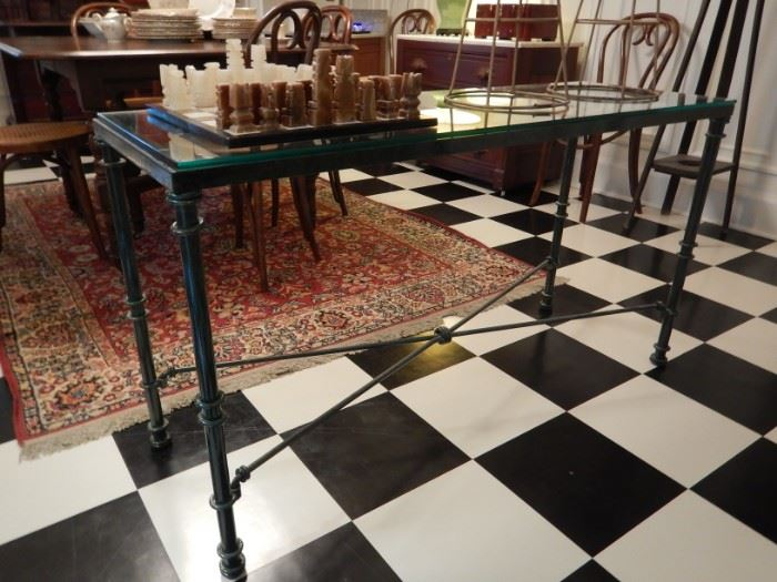 IRON & GLASS TOP CONSOLE