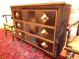 GRANITE TOPPED, COWHIDE COVERED CHEST