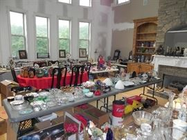 Table of Pottery, Lots of Art Glass