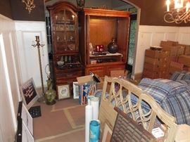 Secretary, TV Stand, Pair Matching Couches, Antique twin bed frame, Lamp