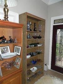 Brass Lamp, Murano Glass, Wood Shelf