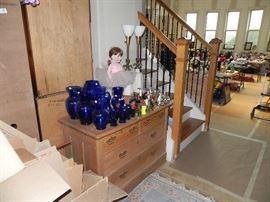 Cobalt Blue, perfume, Antique Chest of Drawers, Matching Lenox Lamps, Collectible Doll