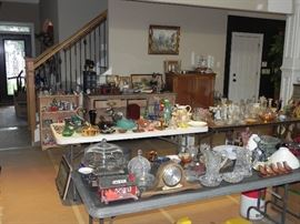Wood Shelf, Antique Dresser, Cabinet with Doors, Collectible Glass