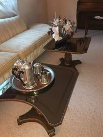 Pair glass top tables