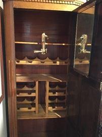 Inside of Single Door Liquor Cabinet with Wine Opener sold separately & Wine & Liquor Rack